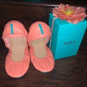 NIB Tieks Peach Poppy PIP Leather Ballet Flats 10